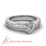 Floret Carved Engraved Engagement Ring 0.55 Ct Heart Shaped Flawless Diamond