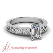 Vintage Style Solitaire Engagement Ring 0.55 Ct Emerald Cut Natural Diamond Si1