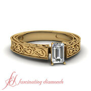 1/2 Carat Emerald Cut Victorian Solitaire Diamond Rings For Women Engagement Gia