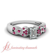Pink Sapphire And Emerald Cut Diamond Gold Engagement Rings For Women 0.85 Ct