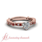 .90 Ct Heart Diamond And Ruby Gemstone Milgrain Style Engagement Ring Pave Set