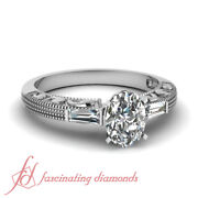 .65 Ct Oval Shaped And Baguette Diamond Vintage Milgrain Engagement Ring Si1 Gia