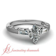Marquise Diamond 3 Stone Antique Looking Engagement Rings With Milgrain 0.60 Ct