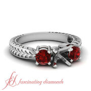 Antique Style 3 Stone Engagement Ring Settings Ruby - Customize Center Stone