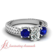 .90 Ct Antique Inspired Cushion Cut And Blue Sapphire Diamond Ring Gia Size 4 - 11