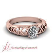 1/2 Ct Cheap Wedding Rings For Women In Rose Gold Diamond Oval Shape Solitaire