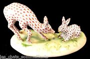 Herend Guild, Bunny And Fawn Porcelain Figurine, Chocolate And Rust, Flawless 1195