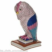 Herend Largest Porcelain 12 Owls On Book Bookends Pair Raspberry 3180