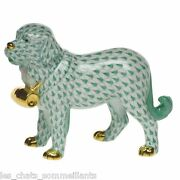 Herend, St. Bernard Dog With Puncheon Porcelain Figurine, Green, Flawless, 505