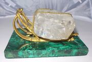 Very Rare Big Russian Antique Bronze Sled With Huge Crystal On Malachite Stand
