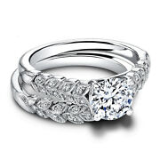 0.80 Carat Round Cut Real Diamond Engagement Band Set 14k Solid White Gold Rings
