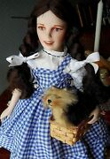 Franklin Mint Porcelain 1986 Wizard Of Oz Dorothy W Toto, Basket, Stand And Tag