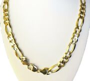 8.10mm 22 40 Gm Solid 14k Gold Yellow Open Menand039s Womenand039s Figaro Chain Necklace