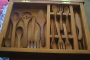 Allegheny Harvest Treenware Cherry Flatware Set With Chest 7 Of 7
