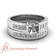 1 Ct Classic Channel Set Princess Cut Bridal Ring Settings For Women White Gold