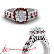 2 Ct 14k White Gold Wedding Ring Sets For Her With Cushion Cut Diamond And Ruby