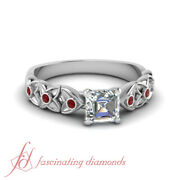.70 Ct Bezel Set Flower Engagement Ring For Her With Asscher Diamond And Ruby Gia