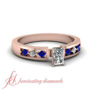 .90 Ct Radiant Cut Diamond And Sapphire Womens 14k Rose Gold Engagement Rings Gia