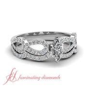 .80 Ct Marquise Cut Diamond Wedding Rings Set 14k Gold Si1-d Color Gia Certified