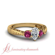1 Carat Pear Shaped Diamond Rings Vintage Style Three Stone In 18k Yellow Gold