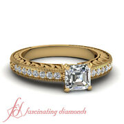 3/4 Ct Vintage Inspired Diamond Rings For Women With Asscher Cut In Yellow Gold