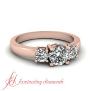 Round Cut Past Present Future Diamond Engagement Rings In Rose Gold Gia 0.80 Ct