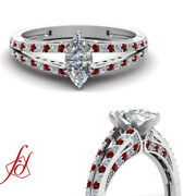 3/4 Ct Marquise Cut Diamond And Ruby Split Shank Engagement Rings For Women Gia