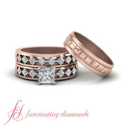 1.50 Carat Trio Wedding Ring Sets For Him And Her With Princess Diamond Center