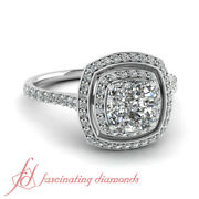 1 Carat Cushion Cut And Round Diamond Antique Inspired Engagement Rings Gia