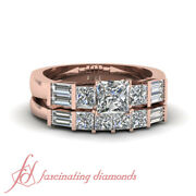 .90 Ct Engagement Rings And Bands For Women With Princess Conflict Free Diamond