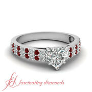 .85 Ct Pave Set Cathedral Style Diamond Rings For Her With Heart Shaped And Ruby