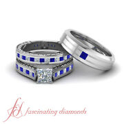 2.25 Carat Princess Diamond And Blue Sapphire 3 Piece Wedding Sets For Him And Her