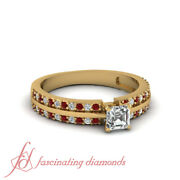 .70 Ct Ruby And Asscher Cut Diamond Rings For Women Engagement Pave Set 18k Gia