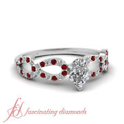 .80 Ct Pear Shaped Very Good Cut Diamond And Ruby Engagement Ring Solid 14k Gold