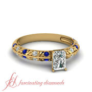 Pave Set 0.65 Ct Radiant Cut Diamond Knife Edge Engagement Rings With Sapphire