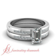 Emerald Cut Diamond Wedding Rings Channel Set With Princess Accents Gia 0.85 Ct