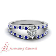 .90 Ct Heart Shaped Diamond And Blue Sapphire Open Band Engagement Ring Flawless