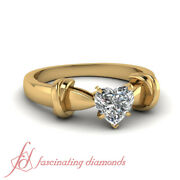 1/2 Ct Heart Shaped 18k Yellow Gold Solitaire Diamond Engagement Ring For Women