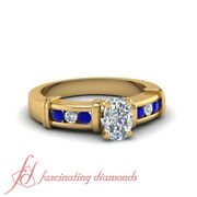 1.15 Ct Cushion Cut Diamond Channel Set Engagement Ring With Round Blue Sapphire