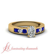 .90 Ct Cushion Cut Channel Set Engagement Ring With Round Blue Sapphire 14k Gia