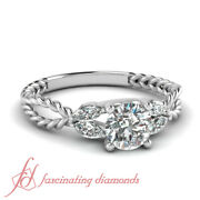 .90 Ct Round Cut Unusual Diamond Rope Pattern Engagement Rings In White Gold Gia