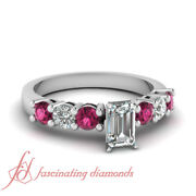 .90 Ct Emerald Cut Diamond Engagement Ring With Round And Pink Sapphire Gemstone