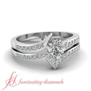 .80 Ct Pear Shape Conflict Free Diamond Zee Shaped Bridal Rings Set 14k Gold Gia