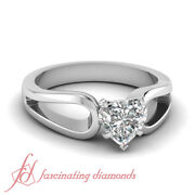 Half Carat Heart Shaped Diamond Delicate Loop Style Solitaire Engagement Ring