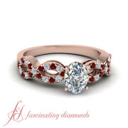 Rose Gold Womens Diamond Rings With Oval Shaped And Round Ruby Gemstone 0.80 Ct