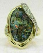 Vintage 18k Yellow Gold/ Platinum Ring With 8.85 Ct Opal And Diamonds D9