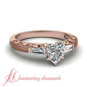 .85 Ct Heart Shape And Baguette Diamond Vintage 3 Stone Engagement Rings 14k Gia