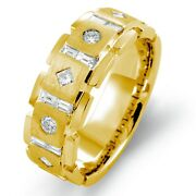 1.00 Ct Round Baguette Diamond Menand039s Wedding Ring 14k Gold Yellow Band G 8.60 Mm