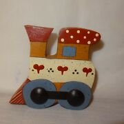 Vintage Wooden Train Table Top Figurine 3 Country Hearts