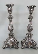 Early 1900s Hand Made 19oz Sterling Silver Pair Of Shabbat Candle Sticks 9284